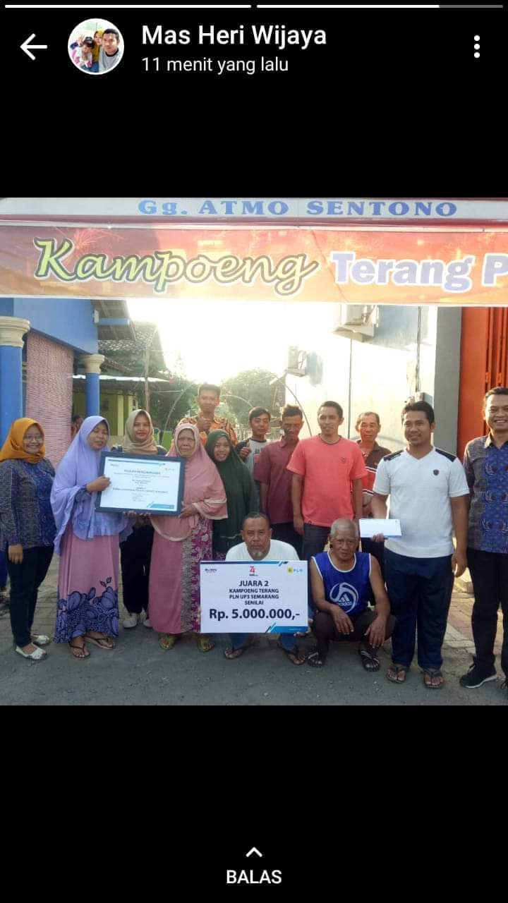 Juara 2 Lomba Kampong Terang PLN UP3 Semarang Dusun Tawang Tengah Gang Atmo Sentono Desa Gempolsewu Kecamatan Rowosari Kendal